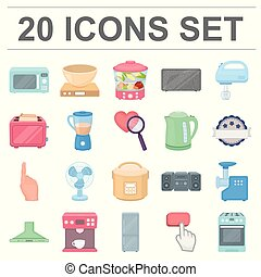 Types of household appliances cartoon icons in set collection for design. Kitchen equipment vector symbol stock web illustration.