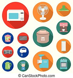 Types of household appliances flat icons in set collection for design. Kitchen equipment vector symbol stock web illustration.