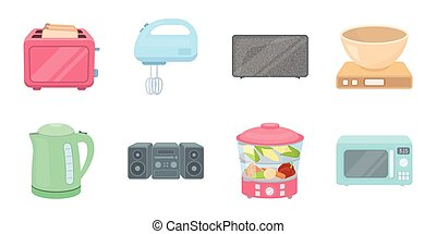 Types of household appliances icons in set collection for design. Kitchen equipment vector symbol stock web illustration.