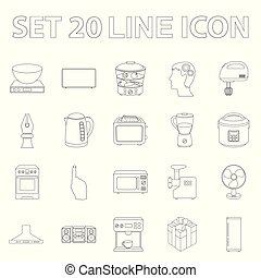 Types of household appliances outline icons in set collection for design. Kitchen equipment vector symbol stock web illustration.