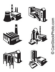 Types of industrial construction - vector illustration