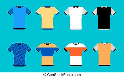 Types of jerseys set. simple icons of main jerseys . Yellow, red, blue, white pullovers isolated on blue background. Flat design Vector