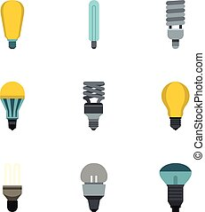 Types of lamps icons set, flat style