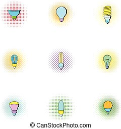 Types of lamps icons set, pop-art style