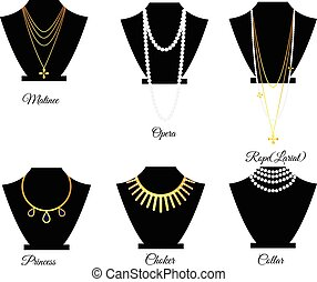 Types of necklaces by length vector illustration