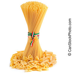 types of pasta - bunch of spaghetti and pasta type on white...