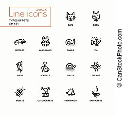 Types of pets - modern vector single line icons set....