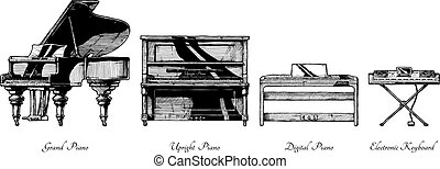 Vector hand drawn illustration of piano types. Grand, Upright (vertical), digital pianos and electronic keyboard. Isolated on white background.