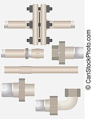 Types of pipe connections. - The device connecting the...