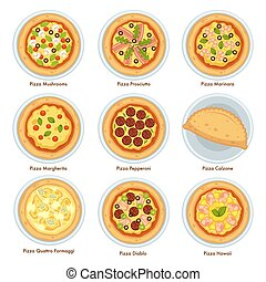 Types of pizza, traditional Italian cuisine and bakered food...