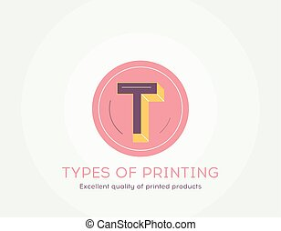 Types of printing icon - Thin line flat design of Excellent quality of printed products.
