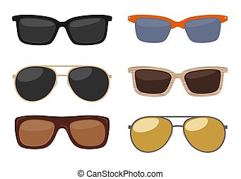 Types of sunglasses. Vector color flat illustration on white background