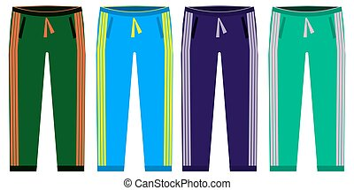 Types of Sweatpants set. simple icons of sprt pants . Green, red, blue, purple isolated on white background. Flat design Vector