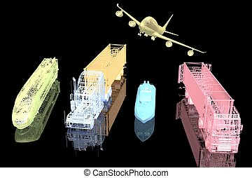 Types of transport. 3d model on black background