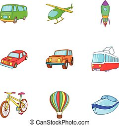 Types of transport icons set, cartoon style