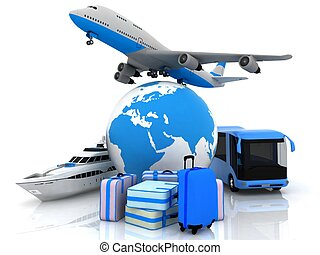 types of transport liners with a globe and suitcases
