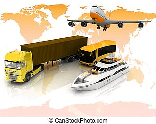 types of transport on a background map of the world