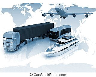 types of transport on background - types of transport on a ...