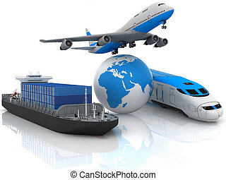 types of transport on white background