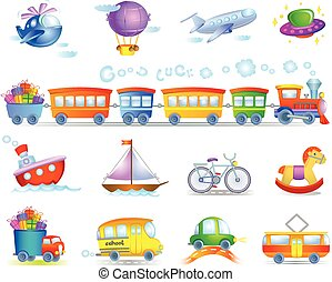 Types of transport - Set of cartoon color icons of types of...