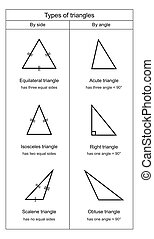 Types of Triangles on white background vector