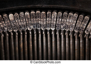 Types of vintage typewriter close-up