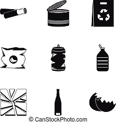 Types of waste icons set, simple style