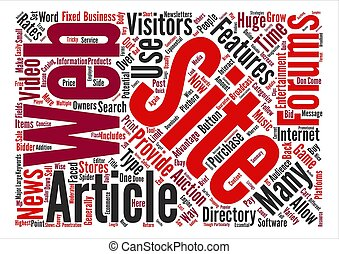 Types of Web Site Features Word Cloud Concept Text...