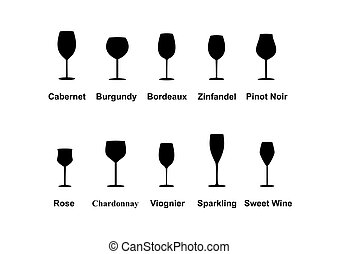 Types of Wine Glasses, set icons. Vector Illustration