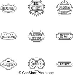 Types tag icons set, outline style