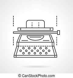 Writer equipment. Typescript machine. Copywriting. Vector icon flat thin line style. Element for web design, business, mobile app.
