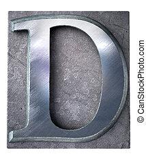 3D rendering an upper case D letter in metallic typescript print (part of a matching alphabet)