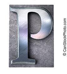 Typescript upper case P letter - 3D rendering an upper case...