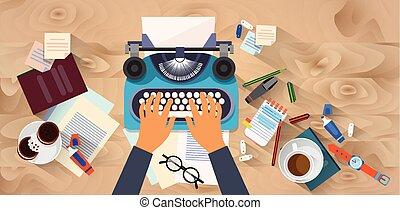 typewrite, bois, écrivain, texte, texture, vue, sommet, dactylographie, angle, mains, auteur, bureau, blog
