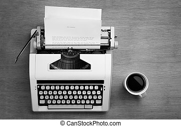 Typewriter and cofee - Typewriter with bible script on the ...