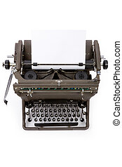 Typewriter and paper with white background