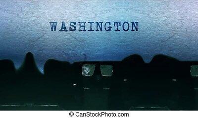 typewriter., blatt, washington, altes , wörter, papier, ...