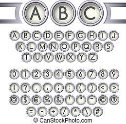 Typewriter buttons alphabet
