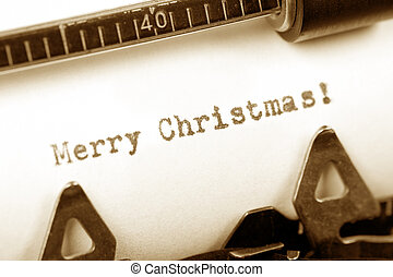 Merry Christmas - Typewriter close up shot, concept of Merry...