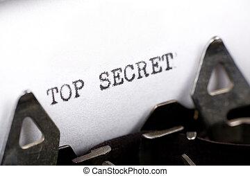 Top Secret - Typewriter close up shot, Concept of Top Secret