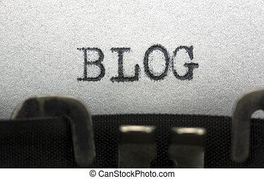 Blog - Typewriter closeup shot, concept of Blog