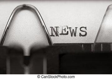 News - Typewriter closeup shot, concept of News