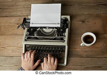 typewriter., femme, vieux, écriture