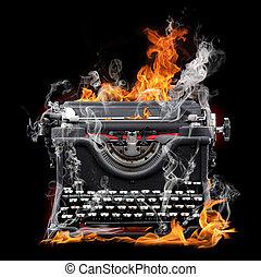 typewriter flame - typewrite flame in black background