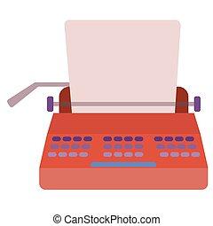 Typewriter flat illustration on white