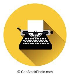 Typewriter icon. Flat color design. Vector illustration.