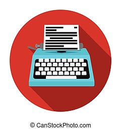 Typewriter icon in flat style isolated on white background. Films and cinema symbol stock vector illustration.
