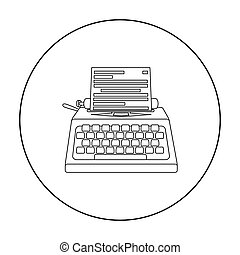 Typewriter icon in outline style isolated on white background. Films and cinema symbol stock vector illustration.