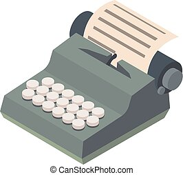 Typewriter icon, isometric 3d style - Typewriter icon....