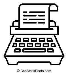 Typewriter icon, outline style